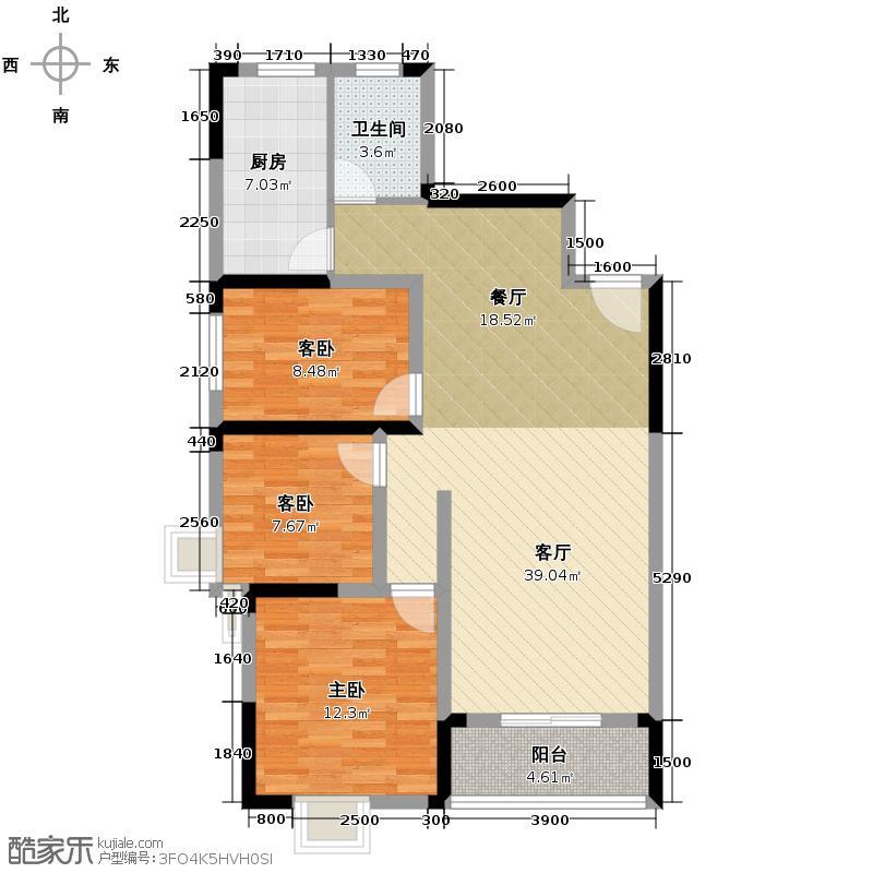 龙瑞尚苑110.91㎡2-3栋C户型3室2厅1卫