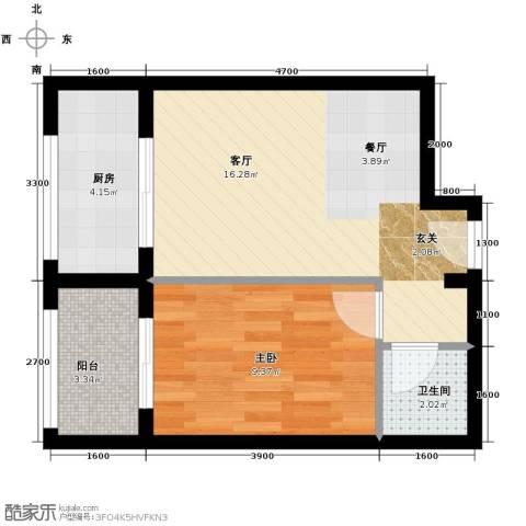 馨雅园1室2厅1卫0厨54.00㎡户型图