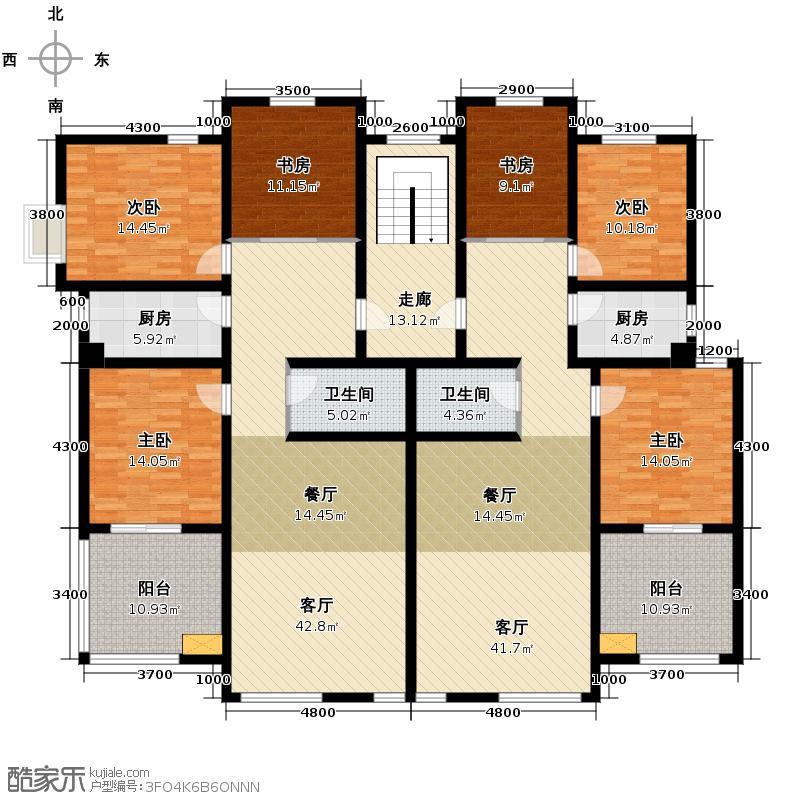 翡翠城240.84㎡东区怡景洋房2#、5#楼北梯5层户型10室