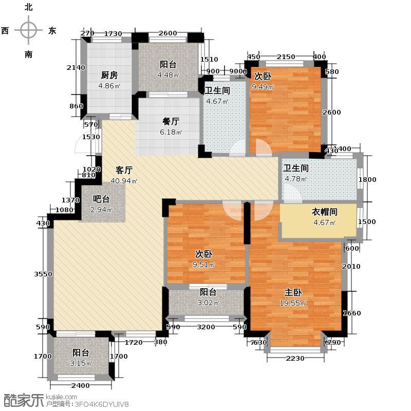 和昌森林湖134.00㎡A1户型3室2厅2卫
