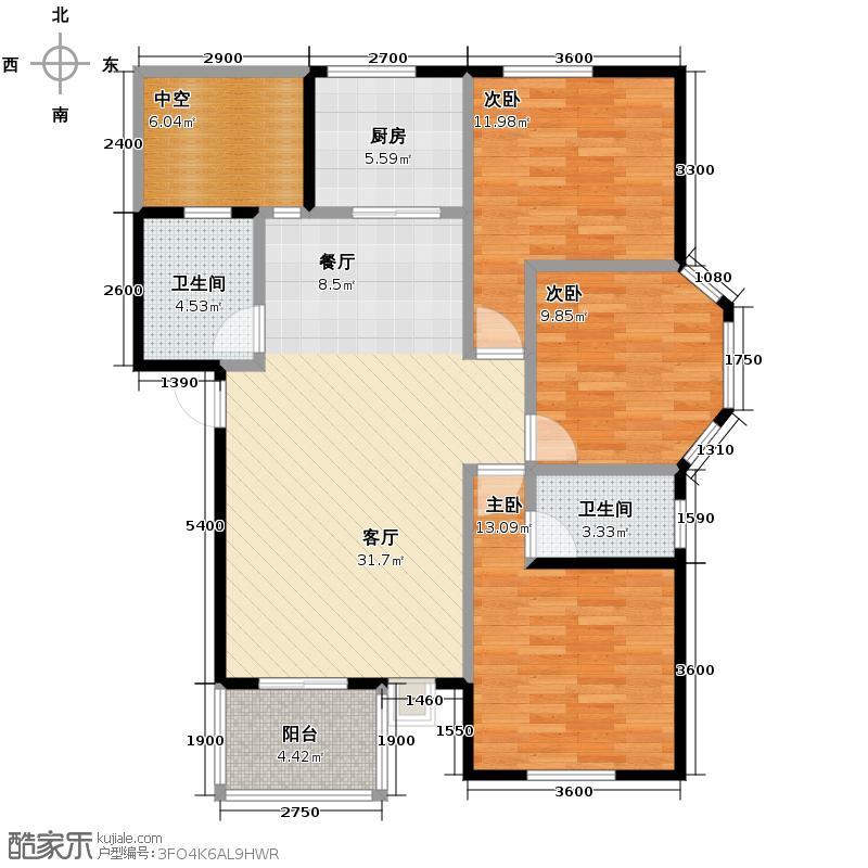 藏龙星天地113.31㎡一期D4户户型3室1厅2卫1厨