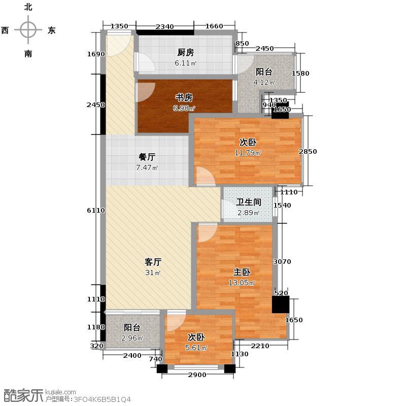 盛天果岭85.34㎡户型4室1厅1卫1厨