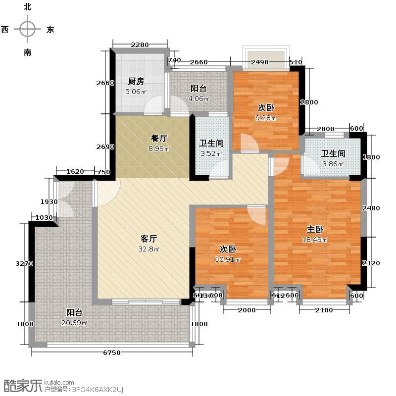 珠光御景山水城93.00㎡10栋02单元01户型3室2厅1卫