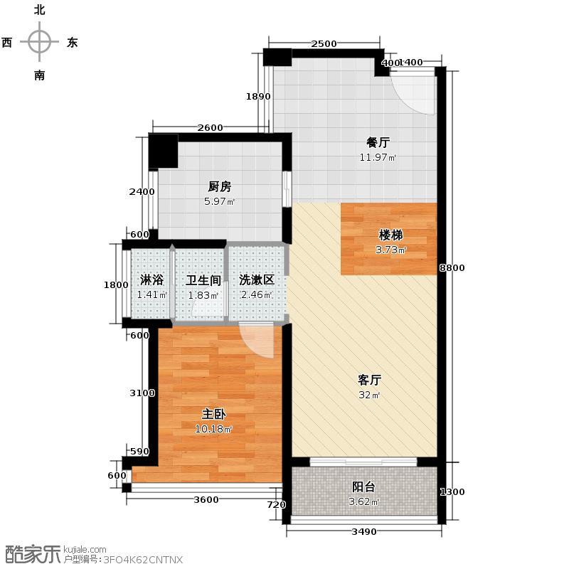 宝能悦澜山88.00㎡7座B单元B复式下层5室户型1室1厅1卫1厨