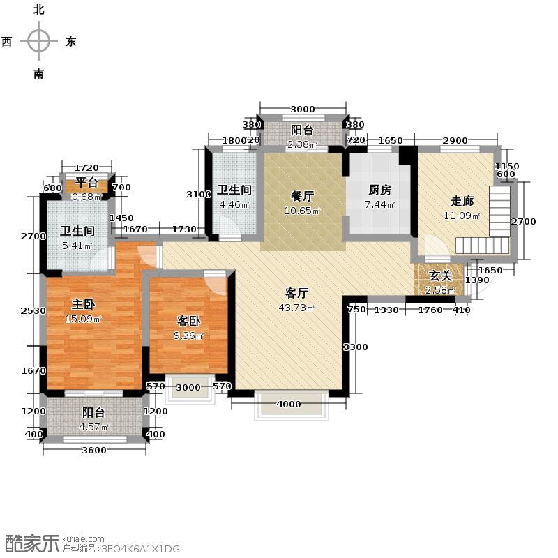 汤逊湖壹号水岸公馆131.02㎡B2户型4室2厅2卫
