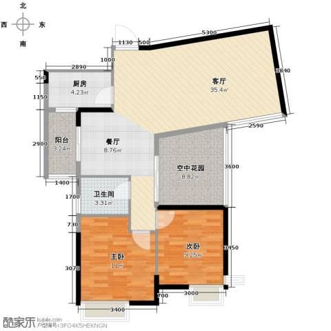 金地中心城2室1厅1卫1厨101.00㎡户型图