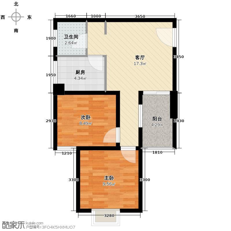 上城国际39.40㎡B1户型2室1厅1卫1厨