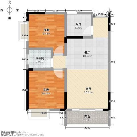 华宇・秋水长天2室1厅1卫1厨80.00㎡户型图