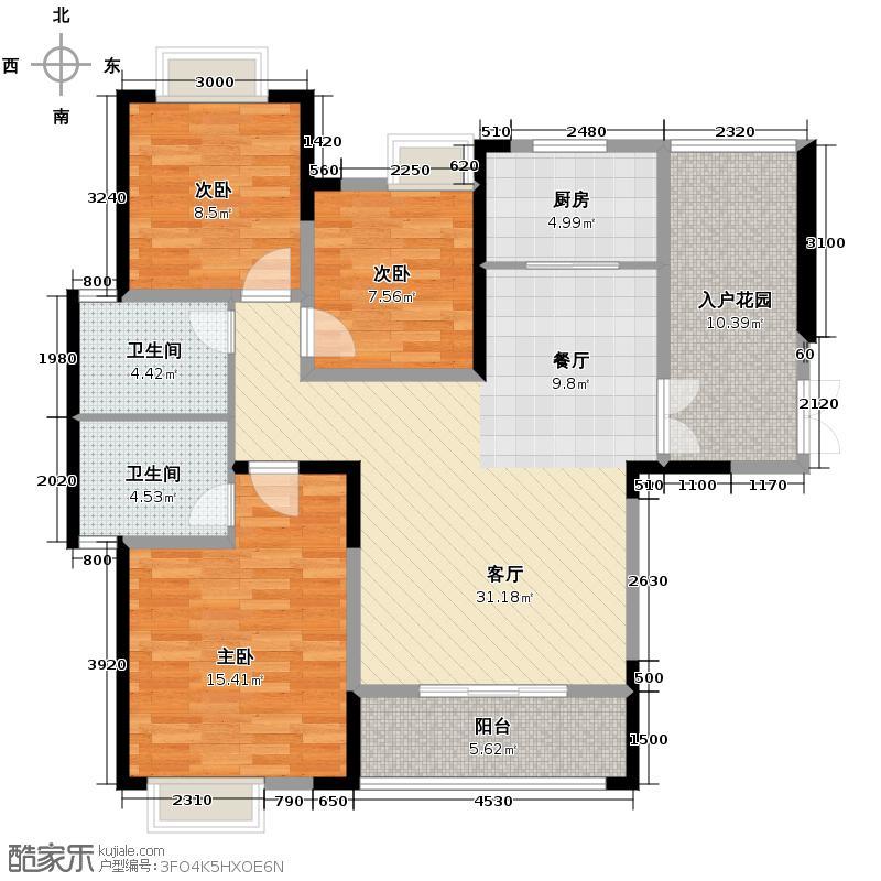 新兴北京御园121.00㎡K1户型3室2厅2卫