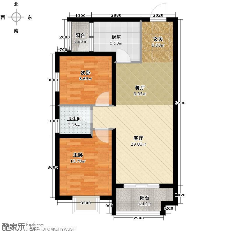 汉城湖一号83.95㎡C户型2室2厅1卫