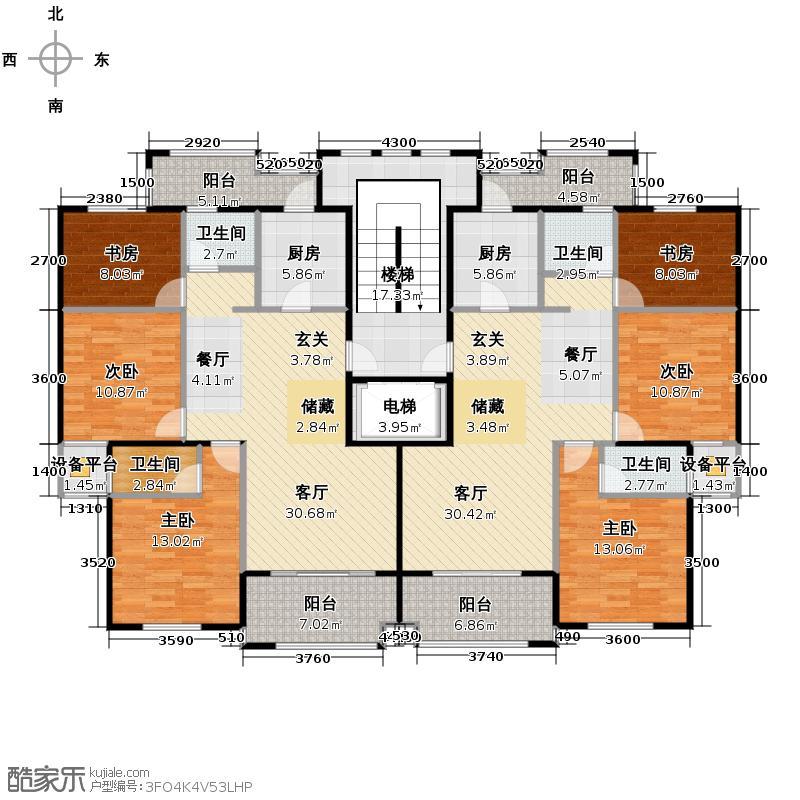 东冠逸景花苑113.26㎡高层中间单元标准层平面户型6室2厅4卫2厨