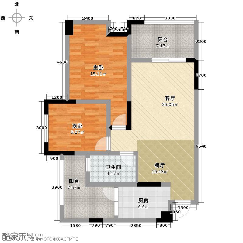 缙逸香山82.29㎡一期2号楼标准层1号房户型2室2厅1卫