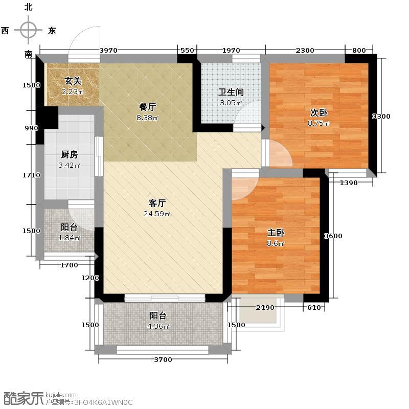 观澜国际66.47㎡二号楼D4户型2室2厅1卫