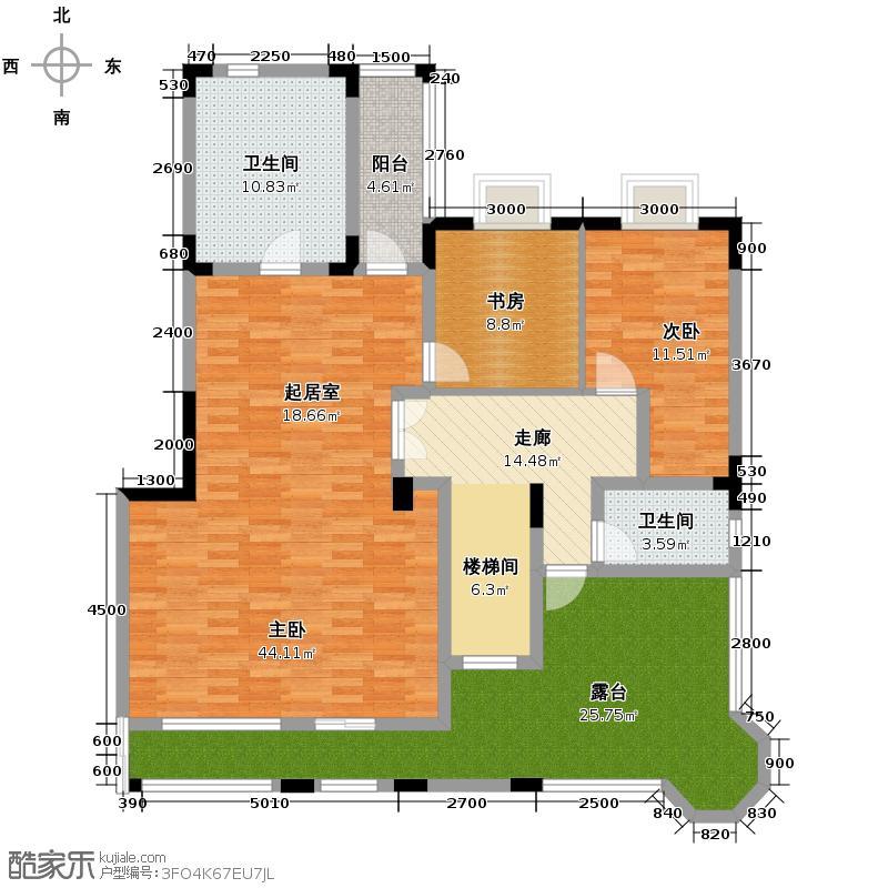 麓山翰林苑256.00㎡复式A3上层户型5室3厅4卫