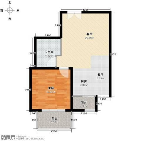 华远君城1室2厅1卫0厨66.00㎡户型图
