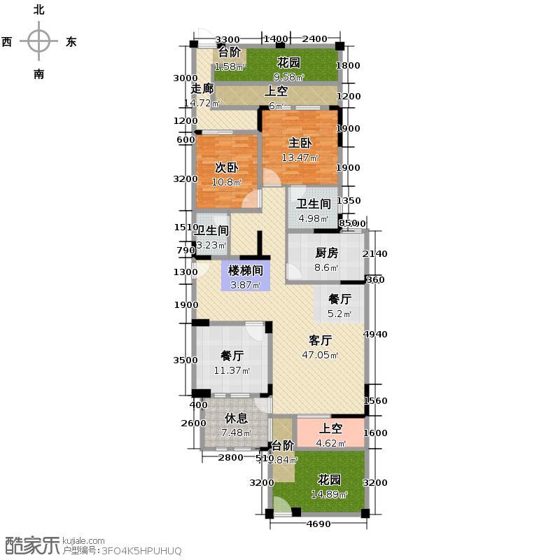 8号公馆236.00㎡A-1一层户型5室3厅3卫