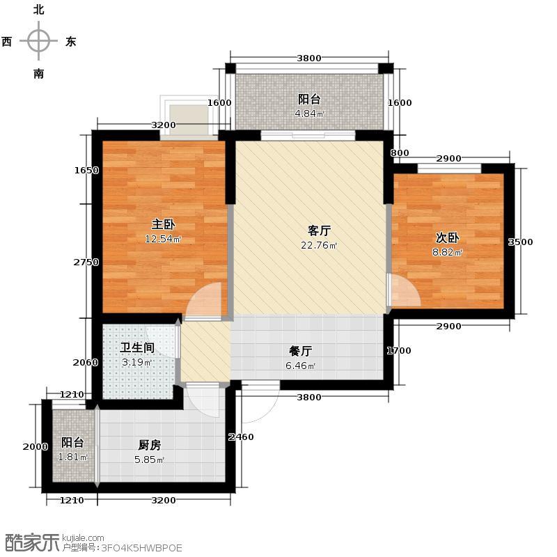 恒鑫名城二期68.51㎡2幢A1、3幢A户型2室1厅1卫1厨