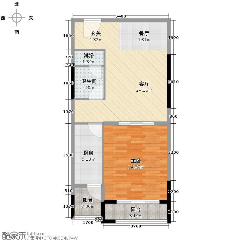 仁恒河滨花园74.00㎡E5户型1室2厅1卫