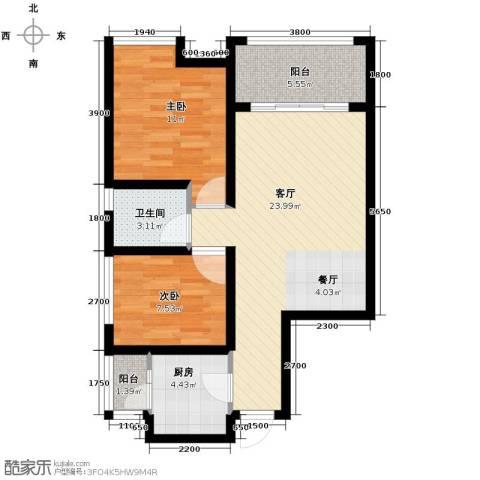 银诚东方国际2室2厅1卫0厨73.00㎡户型图