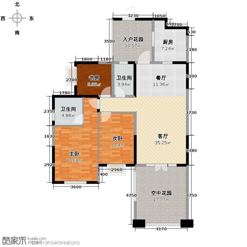 南湖国际社区124.00㎡镜湖G4A偶数层户型3室2厅2卫