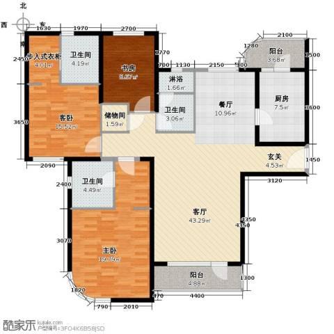 仁恒海河广场3室2厅2卫0厨164.00㎡户型图