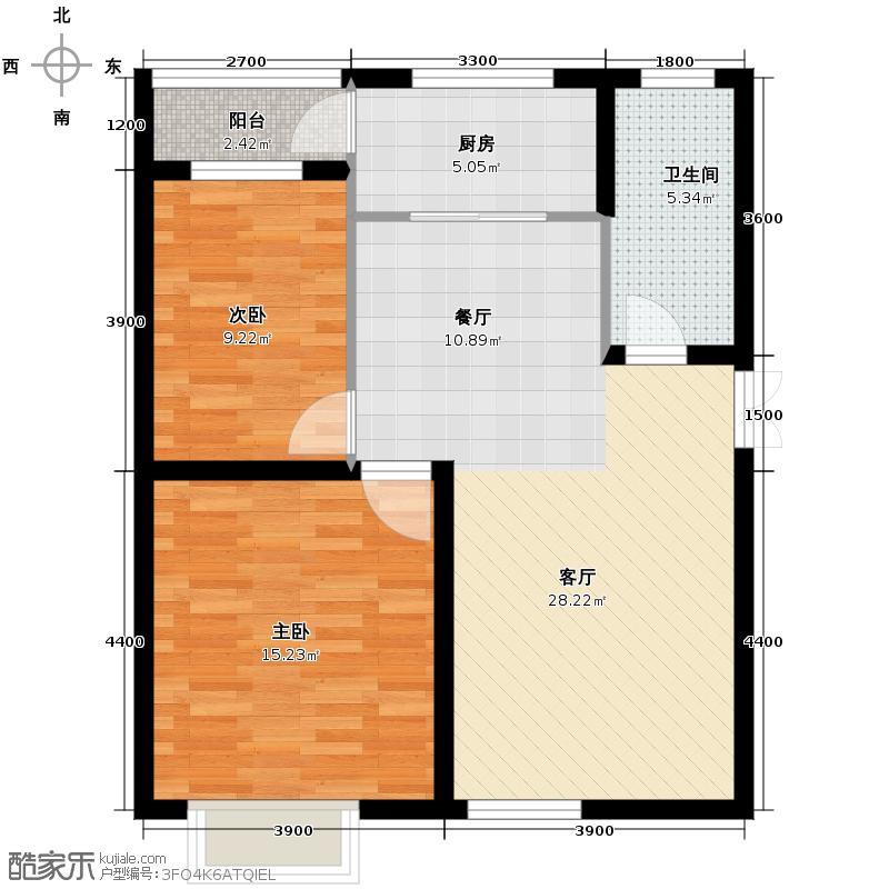 晋建中环花园97.60㎡2号楼G户型2室2厅1卫