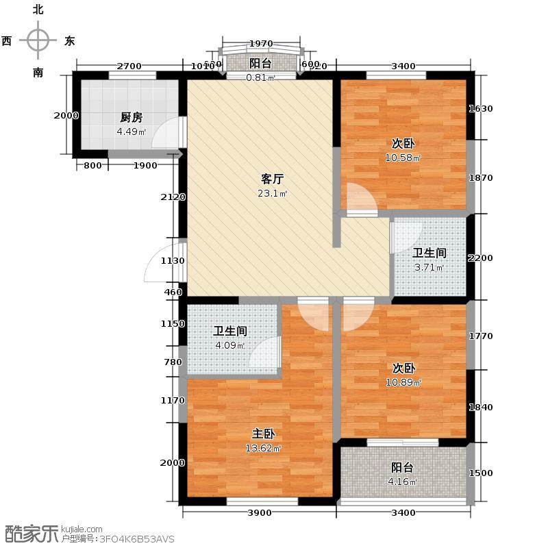 明林庭苑104.62㎡N户型3室1厅2卫