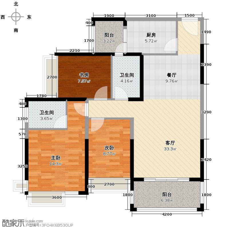 极目楚天113.00㎡4栋户型3室1厅2卫1厨