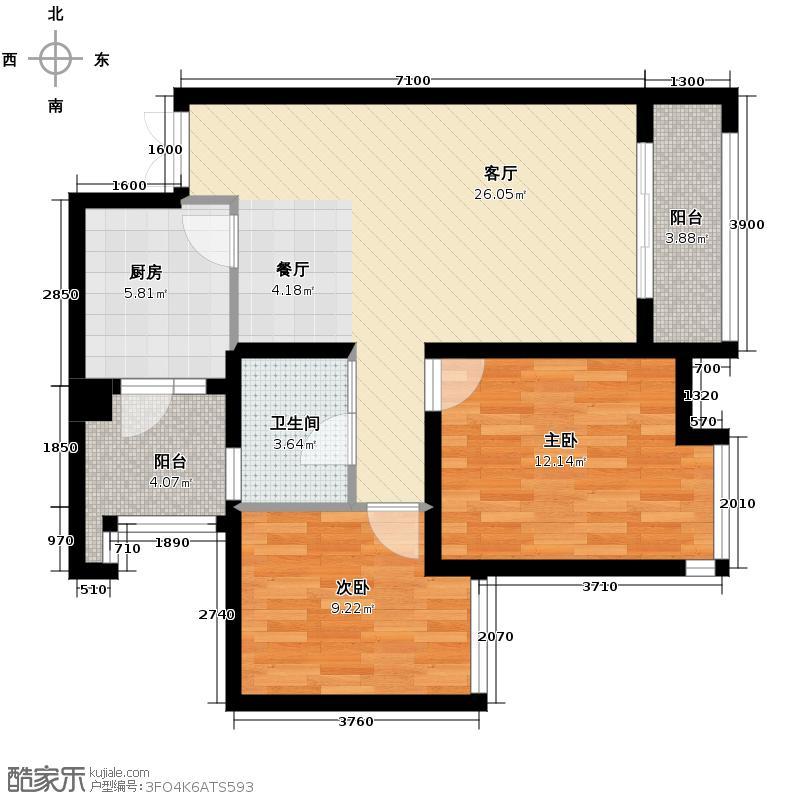 华润中央公园67.00㎡12号楼3号户型2室2厅1卫
