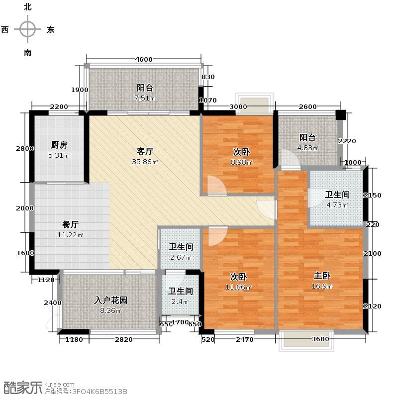 海洋半岛131.12㎡B型1栋户型3室2厅2卫