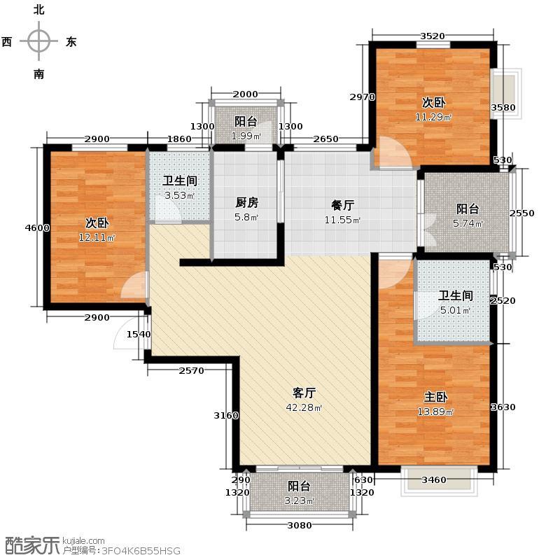 北京城建・世华泊郡132.35㎡户型3室2厅2卫