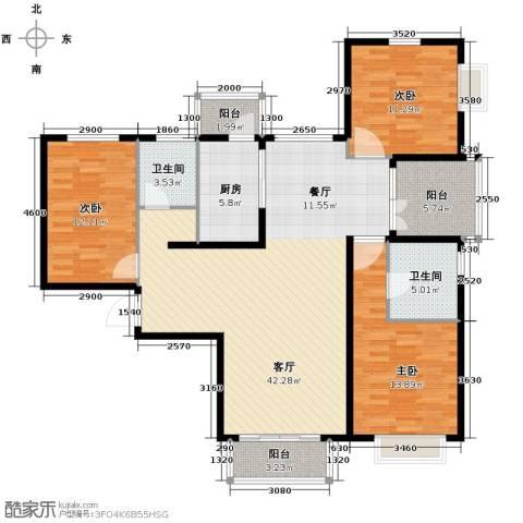 北京城建・世华泊郡3室2厅2卫0厨132.00㎡户型图