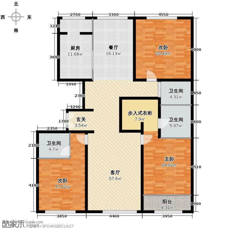 西山壹号院204.00㎡C户型3室2厅3卫