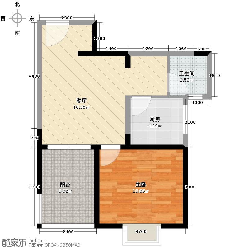 英伦金沙52.14㎡B5型户型1室1厅1卫1厨