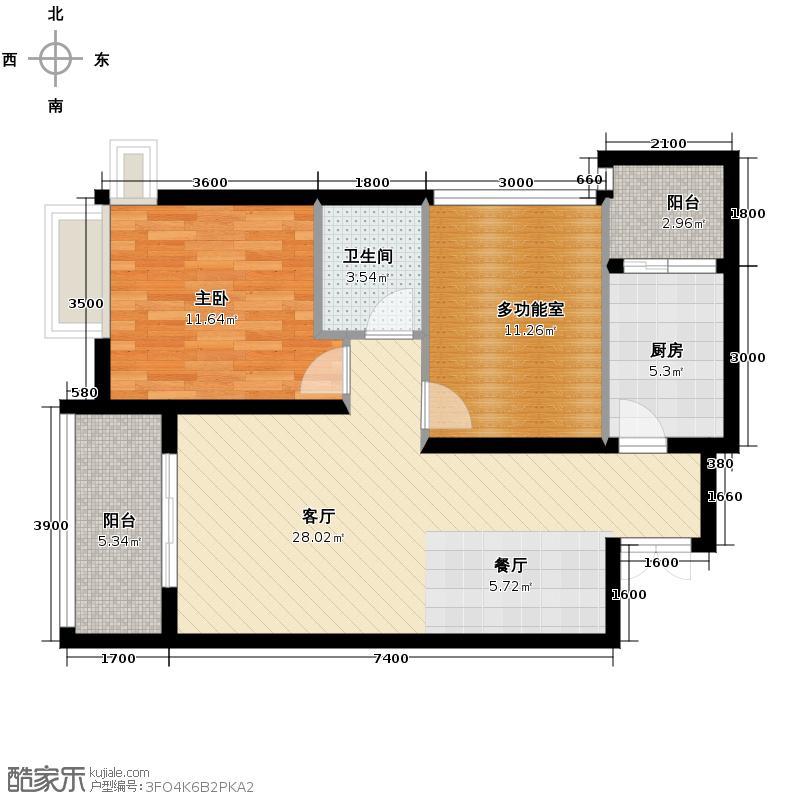 江润地中海岸65.84㎡一期高层13号楼B6户型1室1厅1卫1厨