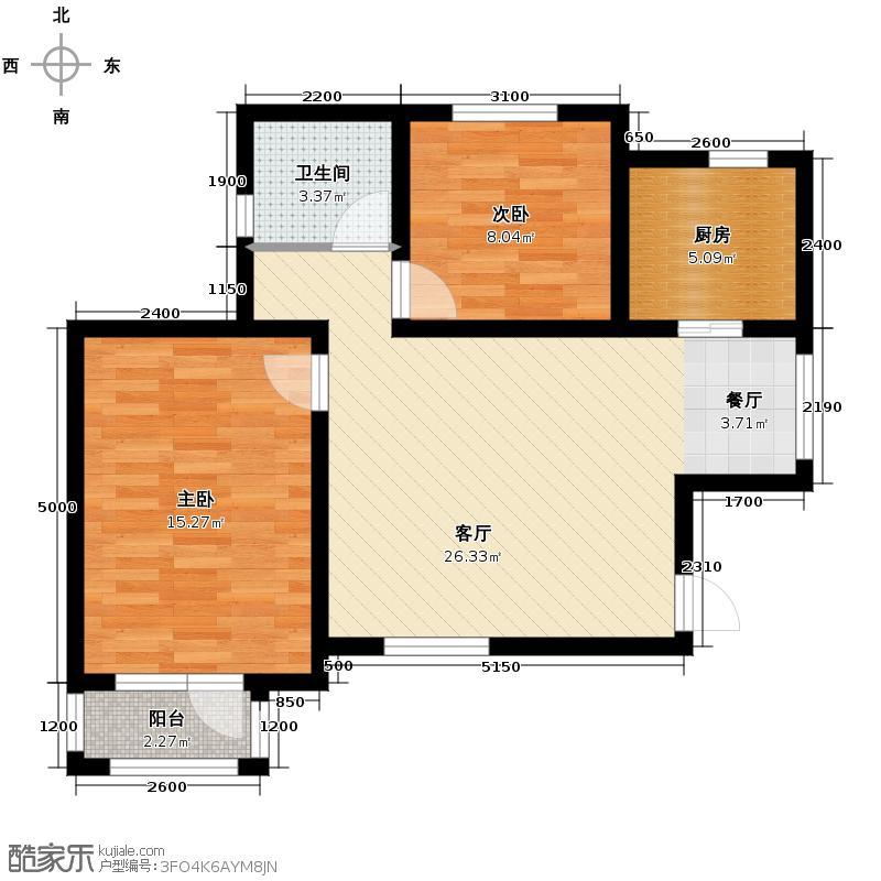 新梅江雅境新枫尚93.24㎡G01户型2室2厅1卫
