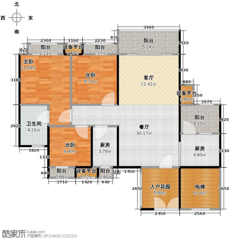 云山峰境花园90.00㎡1/2座03单位户型3室2厅2卫