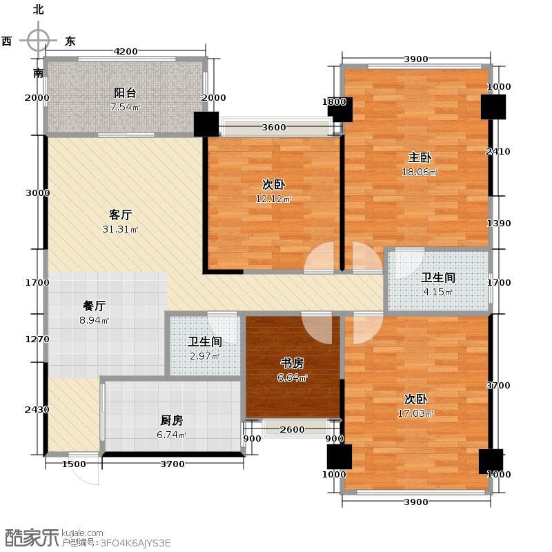 正恒国际广场136.00㎡11A-05户型4室1厅2卫1厨