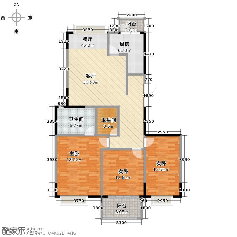 黄龙雅苑116.86㎡户型3室1厅2卫1厨