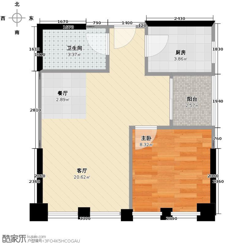 富临理宫53.00㎡C3户型1室1厅1卫