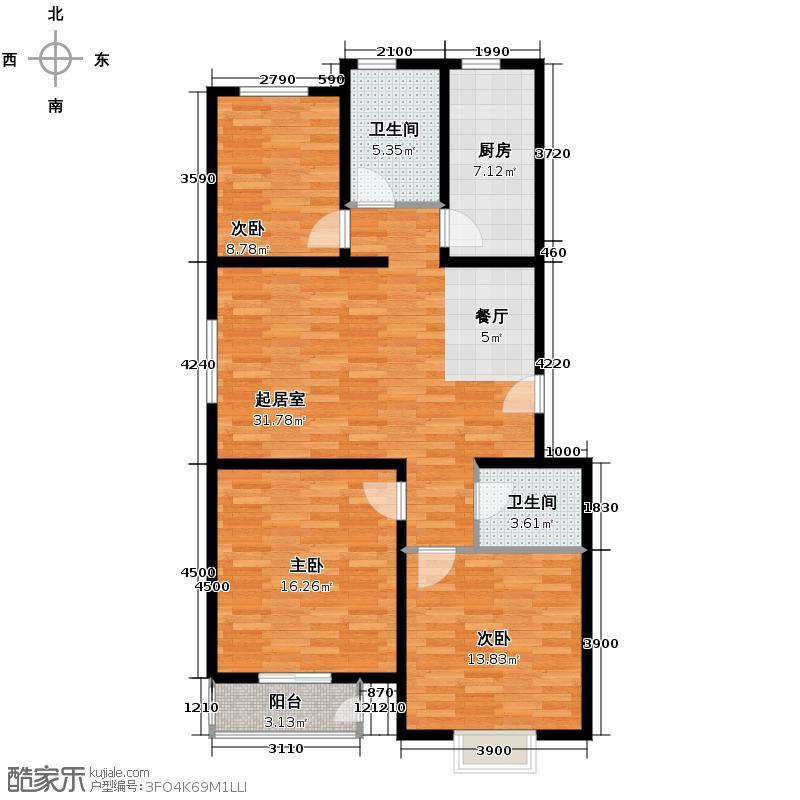 水墨兰庭114.41㎡B1户型3室2厅2卫