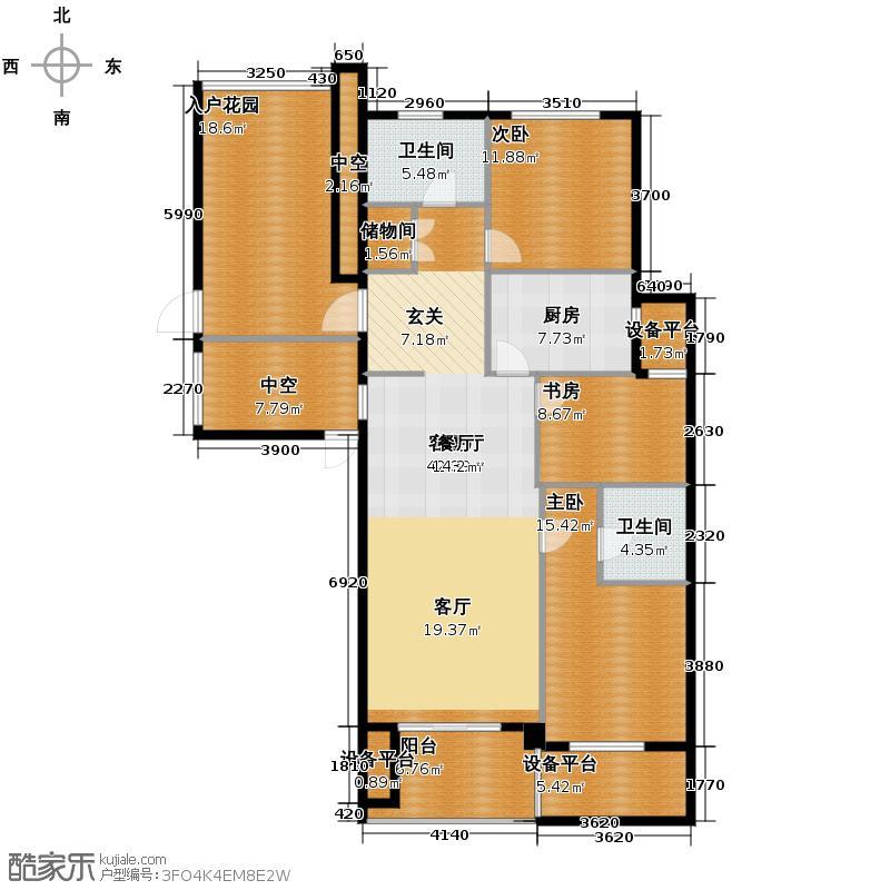 绿城玉兰花园134.00㎡C2户型3室1厅2卫1厨