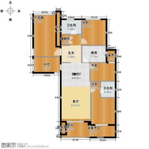 绿城玉兰花园3室1厅2卫1厨140.85㎡户型图