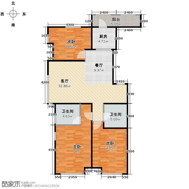 金地铂悦125.00㎡高层E4户型3室2厅2卫