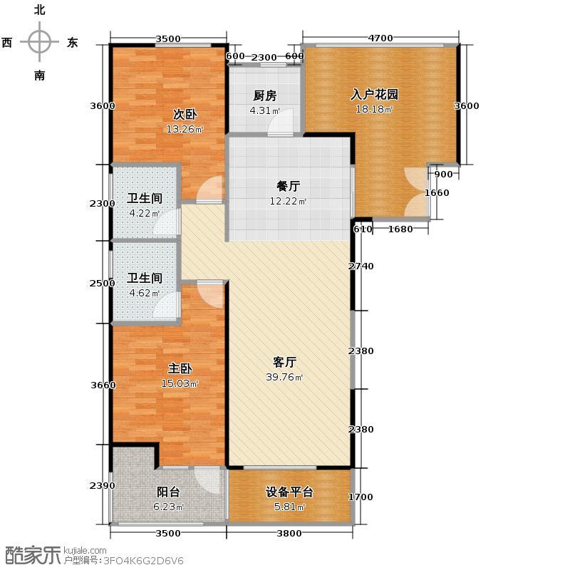 金地湖城大境119.49㎡9号楼1-15层户型2室2厅2卫