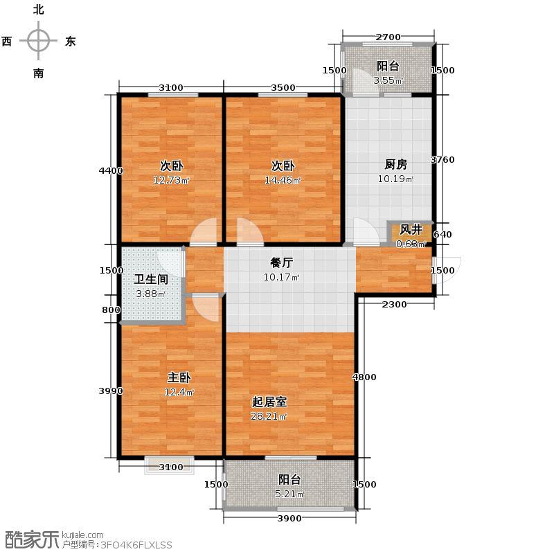 盛世家园110.00㎡2号楼A4户型3室2厅1卫
