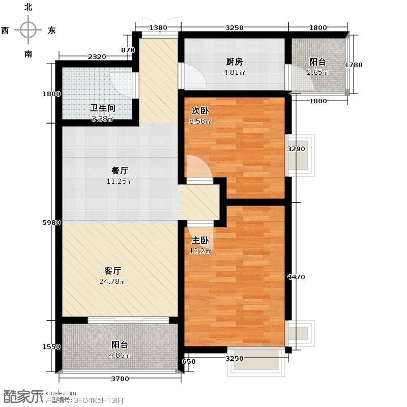 利君未来城83.54㎡图为B7户型2室2厅1卫