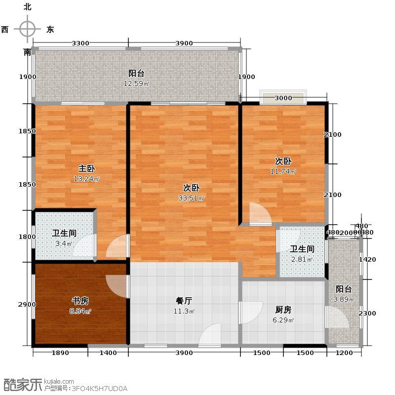 新熙门113.00㎡一期三号楼一二单元A3室户型4室2卫1厨