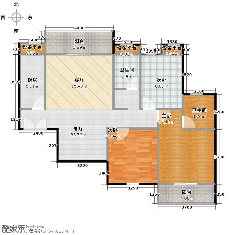 汉口湖畔120.00㎡9/10/17号楼3C户型3室2厅2卫