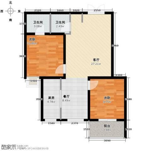 盛城东星2室2厅2卫0厨86.00㎡户型图